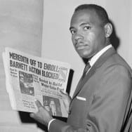 James Meredith Holding Newspaper