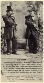 גילוי דעת אימפריאלי ותמונות נורטון קיסר משני צידיו